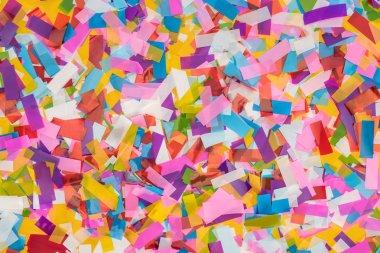 Close up view of multicolored confetti background stock vector