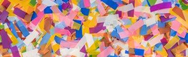 Panoramic shot of multicolored confetti festive background stock vector