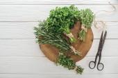 pohled na zelený petržel, Rosemary a Tyme na hnědém pahýlu u starožitných nůžek na bílém dřevěném stole