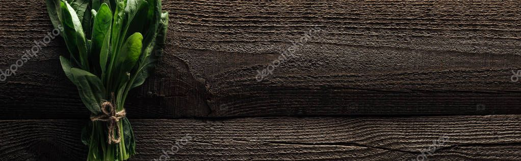 top view of green spinach leaves on wooden rustic table, panoramic shot