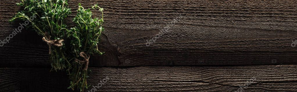 top view of green thyme on wooden table with copy space, panoramic shot