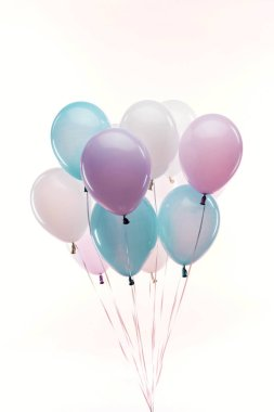 Decorative blue, purple and white balloons isolated on white stock vector