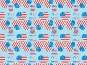 seamless background pattern with mustache, glasses, hats and hearts made of american flags on blue