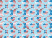 seamless background pattern with paper cut hearts and mustache made of american flags on blue