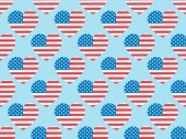 seamless background pattern with hearts made of american flags on blue