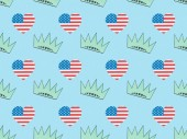 seamless background pattern with hearts made of usa flags and crowns on blue, Independence Day concept