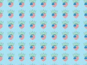 seamless background pattern with hearts made of us national flags and crowns on blue, Independence Day concept