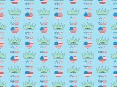 seamless background pattern with hearts, mustache and glasses made of us national flags and crowns on blue, Independence Day concept