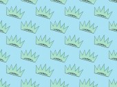 seamless background pattern with turquoise crowns on light blue, Independence Day concept