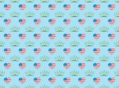 seamless background pattern with hearts made of us flags and crowns on blue, Independence Day concept