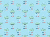 seamless background pattern with mustache and glasses made of us national flags and crowns on blue, Independence Day concept