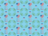 seamless background pattern with hearts, mustache and glasses made of us flags and crowns on blue, Independence Day concept