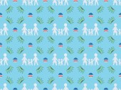 seamless background pattern with white paper cut families, circles made of american flags and crowns on blue, Independence Day concept