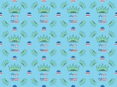 seamless background pattern with mustache and glasses made of us flags and crowns on blue, Independence Day concept