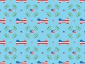 seamless background pattern with bow ties, hearts and circles made of us flags and crowns on blue, Independence Day concept