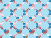 seamless background pattern with paper cut decorative mustache and hearts made of american national flags on blue