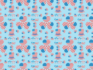 Seamless background pattern with mustache, glasses, hats and hearts made of usa flags on blue stock vector