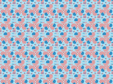 Seamless background pattern with mustache, glasses, hats and hearts made of national american flags on blue stock vector