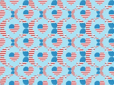 Seamless background pattern with paper cut hearts and mustache made of american flags on blue stock vector