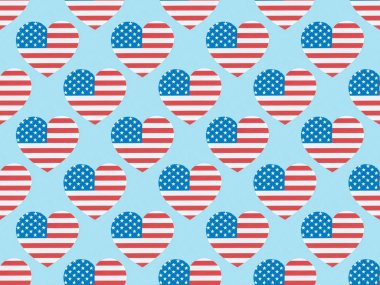 Seamless background pattern with hearts made of american flags on blue stock vector