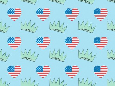 Seamless background pattern with hearts made of usa flags and crowns on blue, Independence Day concept stock vector