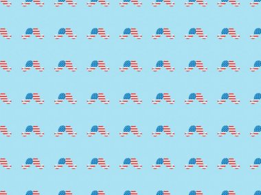 Seamless background pattern with paper cut mustache made of american flags on blue stock vector