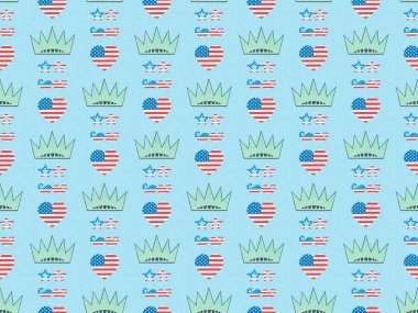 Seamless background pattern with hearts, mustache and glasses made of us national flags and crowns on blue, Independence Day concept stock vector