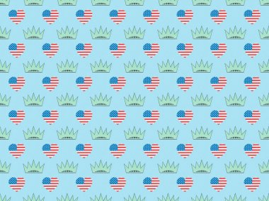 Seamless background pattern with hearts made of us flags and crowns on blue, Independence Day concept stock vector