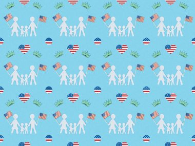 Seamless background pattern with hearts made of us flags, white paper cut families and crowns on blue, Independence Day concept stock vector