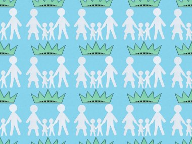Seamless background pattern with white paper cut families and crowns on blue, Independence Day concept stock vector