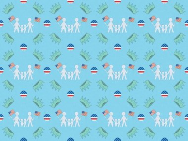 Seamless background pattern with white paper cut families with american flags and crowns on blue, Independence Day concept stock vector