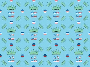 Seamless background pattern with mustache and glasses made of us flags and crowns on blue, Independence Day concept stock vector