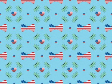Seamless background pattern with bow ties, hearts and circles made of us flags and crowns on blue, Independence Day concept stock vector