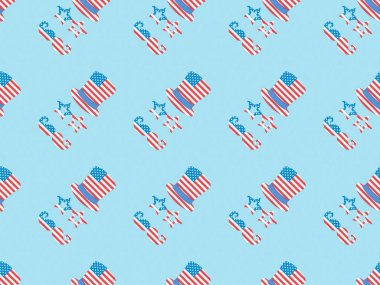 seamless background pattern with paper cut decorative mustache, glasses and hats made of american national flags on blue