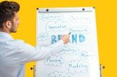 pohled na podnikatele stojící blízko bílé kancelářské desky, ukazující na slova na flipchart