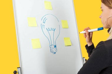 successful businesswoman looking at word idea and light bulb drawn with stickers on white flipchart