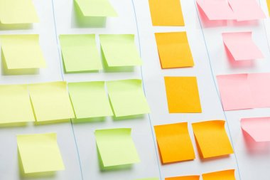 White office board with colorful sticky notes and copy space stock vector