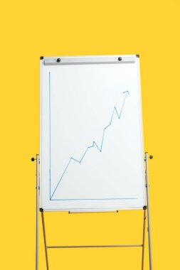 White flipchart with growth graphic isolated on yellow stock vector