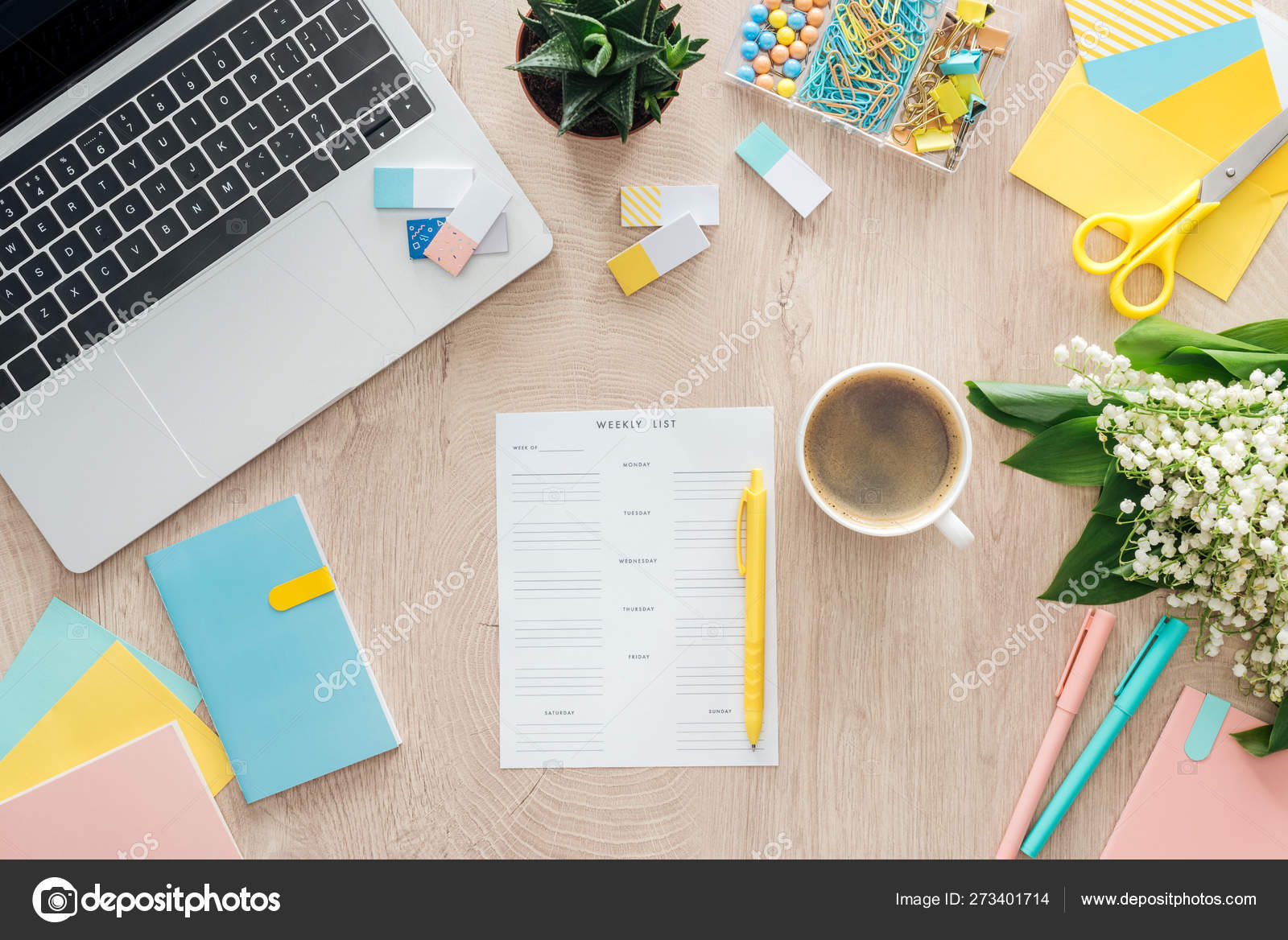 Top View Weekly List Cup Coffee Stationery Laptop Flowers Wooden Stock Photo, Image by VadimVasenin #273401714
