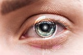close up view of human green eye with data illustration, robotic concept
