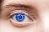 zblízka pohled na ženskou šedé oko s daty ilustrace, koncepce robotů