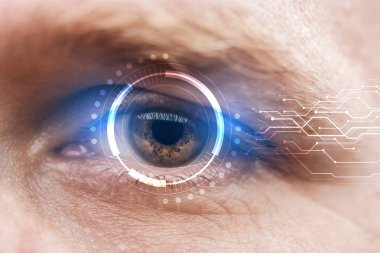 close up view of mature human eye with data illustration, robotic concept