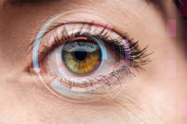 close up view of human colorful eye with data illustration, robotic concept