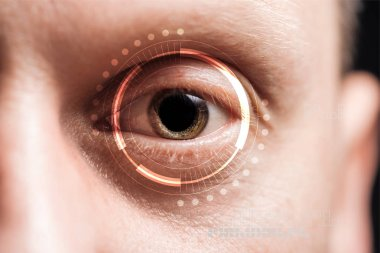 Close up view of human eye with data illustration, robotic concept stock vector