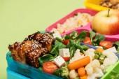 Fotografie Blízká pohled na jídlo v polední krabicích izolované na zeleném