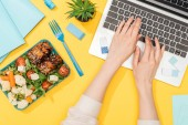 cropped view of woman working with laptop near lunch box and office supplies