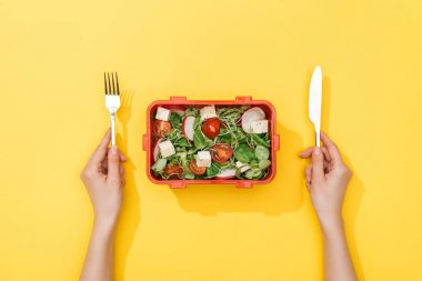 Cropped view of woman holding fork and knife over lunch box with salad stock vector