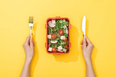 cropped view of woman holding fork and knife over lunch box with salad