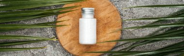 top view of coconut beauty product in bottle on wooden board near palm leaves on grey textured background, panoramic shot