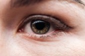 chiudere la vista della vista donna adulta con le ciglia e sopracciglio guardando fotocamera